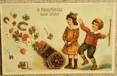 Vintage New Year's Day with Chidren and Cannon Postcard - Gold Trim