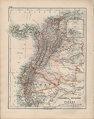 1914 Map ~ South America Colombia Ecuador & Panama Galapagos