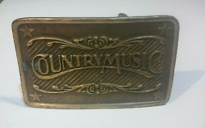 """Vintage Indiana Metal Craft Brass """"Country Music"""" Belt Buckle"""