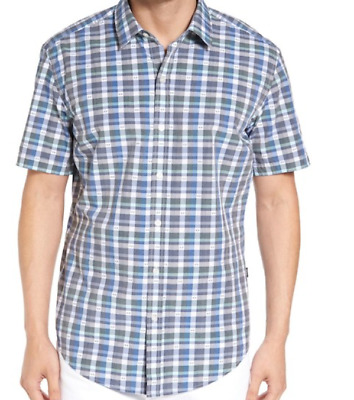 d7e92ebec HUGO BOSS NEW $145.00 BLUE ROBB SHARP FIT CHECK PLAID BUTTON DOWN SHIRT sz-  XL