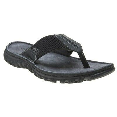 New Mens Lotus Black Ainsley Leather Sandals Slip On