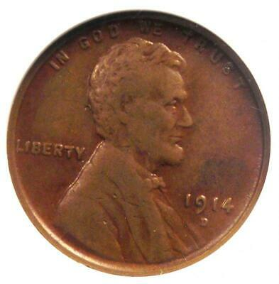 1914-D Lincoln Wheat Cent 1C - ANACS VF20 (Very Fine) - Rare Key Date Penny!