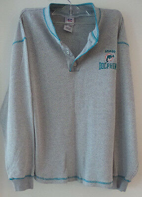 MIAMI DOLPHINS Gray Aqua Thermal Henley Pullover Long Sleeved Kids 18/20 NFL