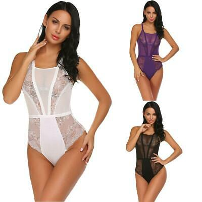 Women One Piece Sexy Lingerie Bodysuit Halter Sheer Lace Patchwork EN24H 02