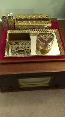 6 PC Vintage Metal Globe Mfg 24 KT Gold Plated Vanity Dresser Perfume Tray Set