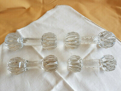 Lot of 4 Antique Cut Glass Crystal Barbell style Fancy knife rests ABP Brilliant