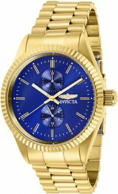 29430 Invicta Men's Specialty Quartz Blue Dial Gold Tone Stainless Steel Watch