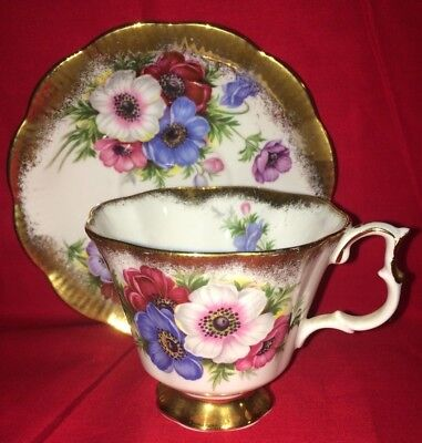 Vintage Royal Albert Bone China Flower Floral #4460 Gold Trim Cup & Saucer Set