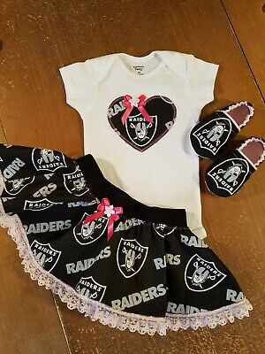 78de8dcc9 Oakland Raiders Baby Girl 3 Piece Tailgating Outfit Raiders Girl 6-9 Months