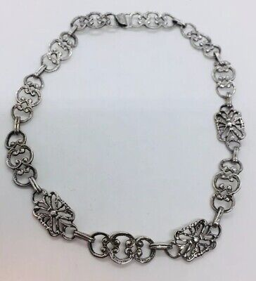 Antique Victorian Sterling Silver Ornate Chain Link Necklace