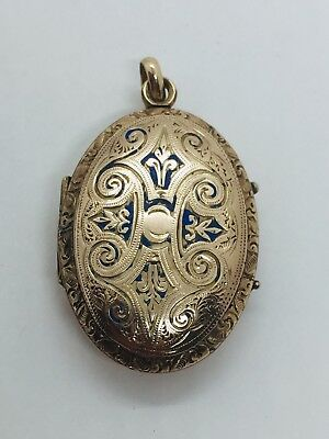 Antique Victorian Yellow Gold Filled Ornate Locket Pendant