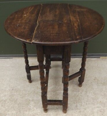 Antique Victorian Small Oak Drop-Leaf Gateleg Occasional Table with Bobbin Legs