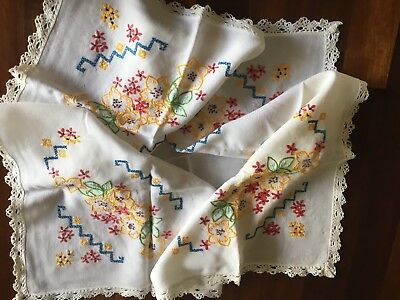 Pretty vintage linen rayon hand embroidered Floral Small Cloth Craft Or Use