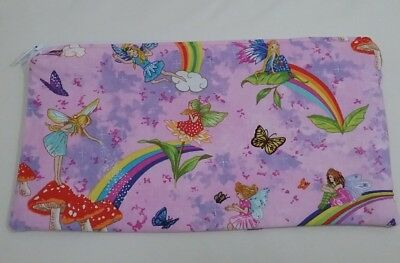 Pink fairy fabric pouch purse pencil case money lined handmade student gift idea
