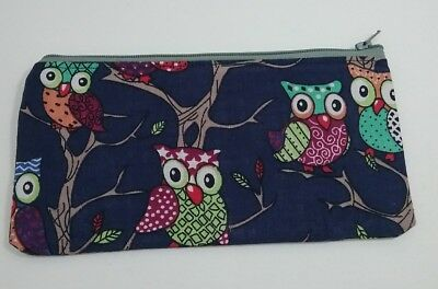 Navy owl school Kids fabric pouch purse pencil case money lined handmade gift