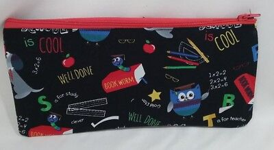 Fabric pouch purse pencil case money lined school design handmade student gift