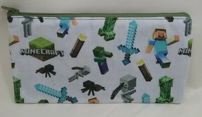 Pixel game fabric pouch purse pencil case money lined handmade student gift idea
