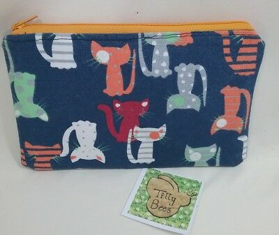 Navy cat cats fabric pouch purse dog cat treat bag plastic fabric lined handmade