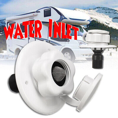 Water Inlet W/ Check Valve RV White Plastic City Fill Flange Trailer Marine Auto