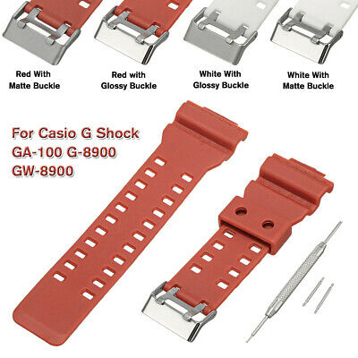 Watch Strap Band + Pins for Casio G Shock GA-100 G-8900 GW-8900 Replace Part Red