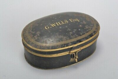Lawyer's 1920s' Ravenscroft Law Wig & Robe Makers Painted Tin.  Ref KOZ