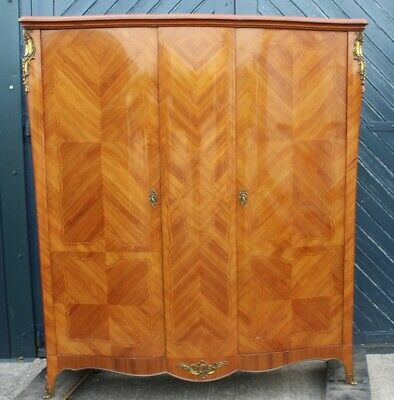 1930s Walnut Serpentine Side Wardrobe with Marquetry, Fitted with Shelves