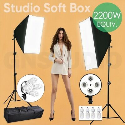 Photo Studio Softbox Continuous Lighting Kit Photograpy Soft Box Light Stand Bag