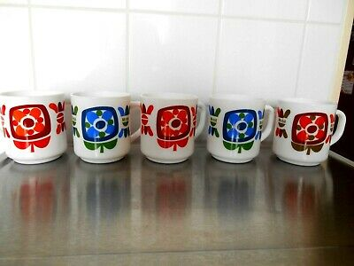 5 tasses mugs Arcopal décor Lotus - Mobil