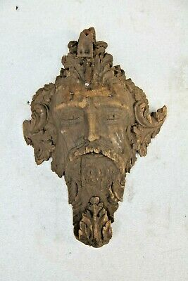 *new In* Hand Carved Gothic Male Bearded Face Architectural Wood Wall Sculpture
