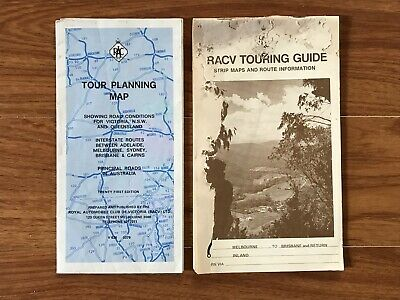 Vintage Road Map RACV TOURING GUIDE Melb - Brisbane & Tour Planning VIC QLD NSW