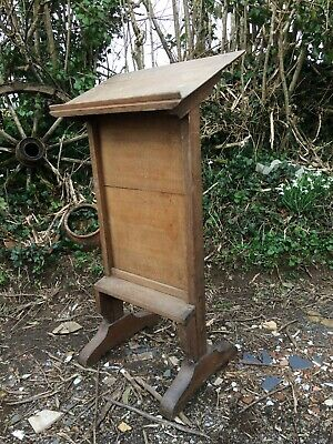 """Vintage Oak Lectern Or Bible Stand 45""""h Gothic Wedding, Services, Retail Display"""
