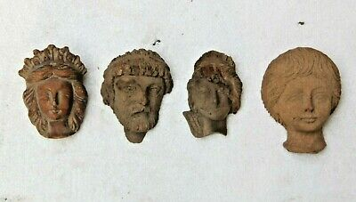 *new In* 4 X Unique Hand Carved Gothic Heads Architectural Wood Sculptures