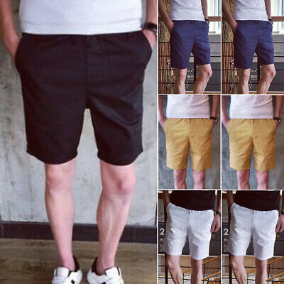 New Mens GYM Shorts Cotton Casual Summer Half Pant Stretch Slim Fit Short UK