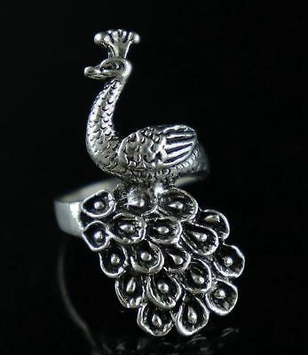 Collect China Old Tibet Silver Carve Lifelike Peacock Delicate Girl Decor Ring