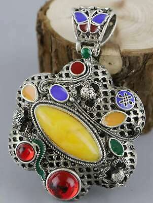 Collect Miao Silver Cloisonne Inlay Amber Hand Carve Delicate Hollow Out Pendant