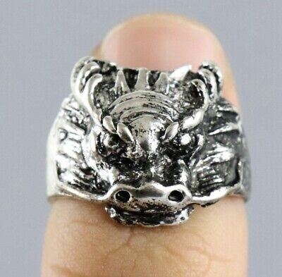 Collect China Old Tibet Silver Hand Carve Roar Dragon Moral Exorcism Decor Ring