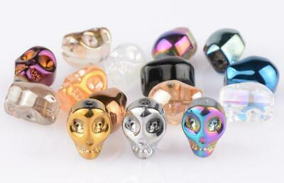 Top quality 55Pcs Skull Crystal Glass Loose Spacer Beads 10mm diy Making