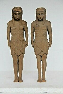 *new In* Pair Of Egyptian Soldiers Hand Carved Wood Gothic Style Carvings