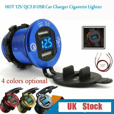 12V QC3.0 USB Car Charger Socket Cigarette Lighter Power Adapter + Switch + LED