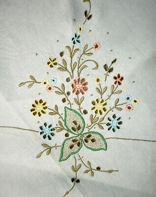 Vintage Large Madeira Coloured Hand Embroidered & Cutwork Linen Tablecloth