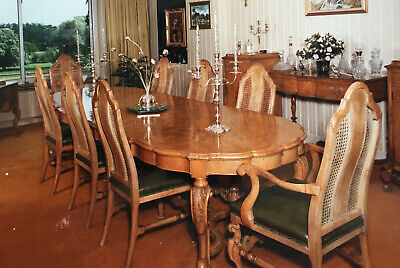Antique Walnut 8 seater, extending Dining Table and chairs.