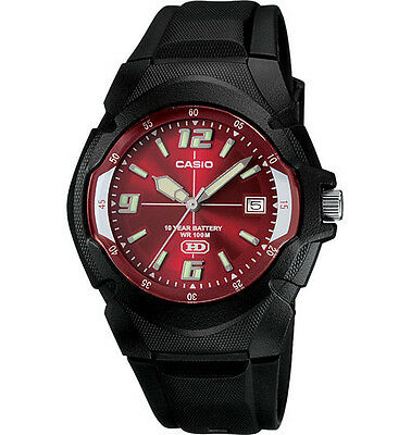 Casio MW600F-4AV, Men's Watch, Black Resin, Red Dial, Date, 10 Year Battery