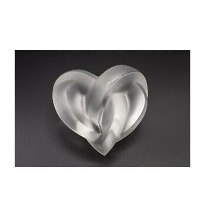 GENUINE LALIQUE Clear Crystal Love Heart Paperweight Clear (1184700)