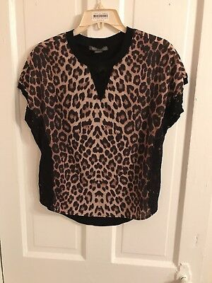 Womens Suzy Shier Cheetah Blouse Top XS Brown black lace Tunic animal leopard