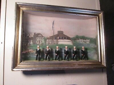 Vintage Painted Army Men Display Navy 3D Painting Military Possibly WW2