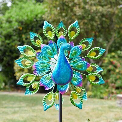 Solar Wind Spinner Peacock Garden Light Colour Changing LED Spinning Decoration