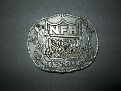 Vintage 1St Edition 1983 Hesston Nfr 25Th Anniversary Rodeo Buckle Excellent