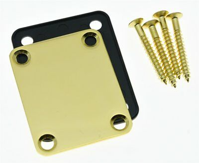 * NEW NECK PLATE with Screws & Guard for Fender Strat Tele P Jazz Bass Gold