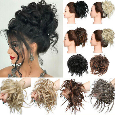 Large Thick Messy Bun Hair Scrunchie Updo Cover Curly Hair Extensions NEW kcmrk