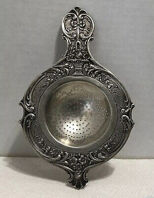 Ornate German 800 Silver Tea Strainer Floral Design With Hand Workmanship